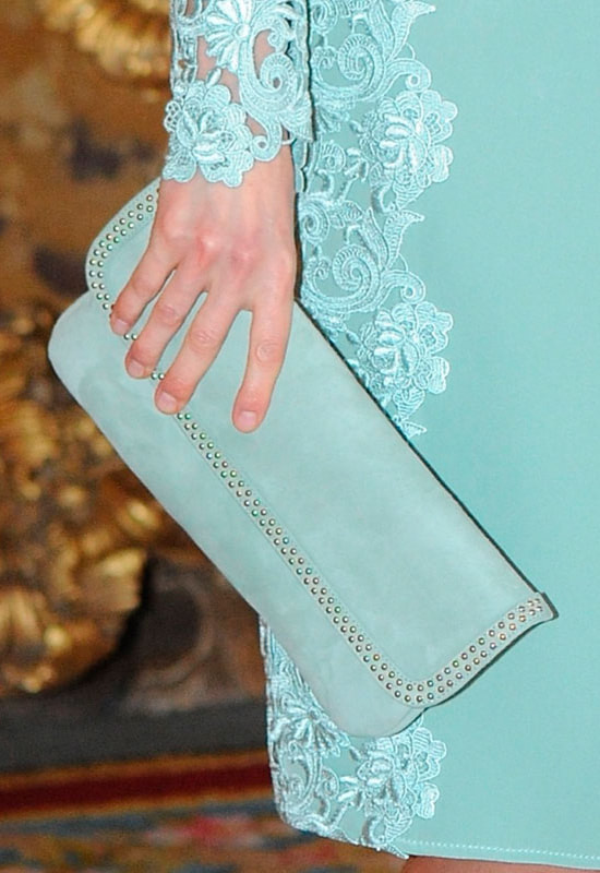 Magrit mint suede flap clutch with studded trim