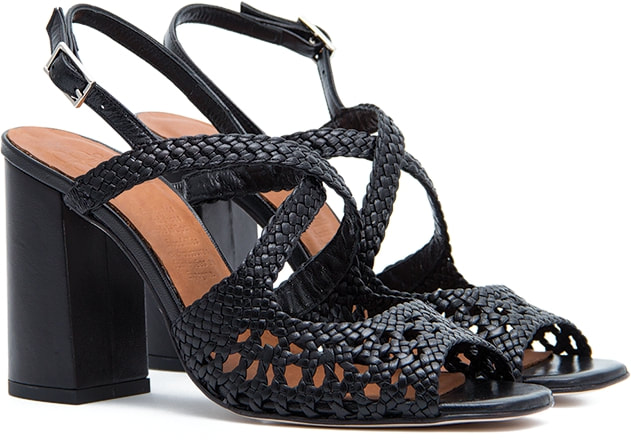Naguisa Mala black block heel sandals