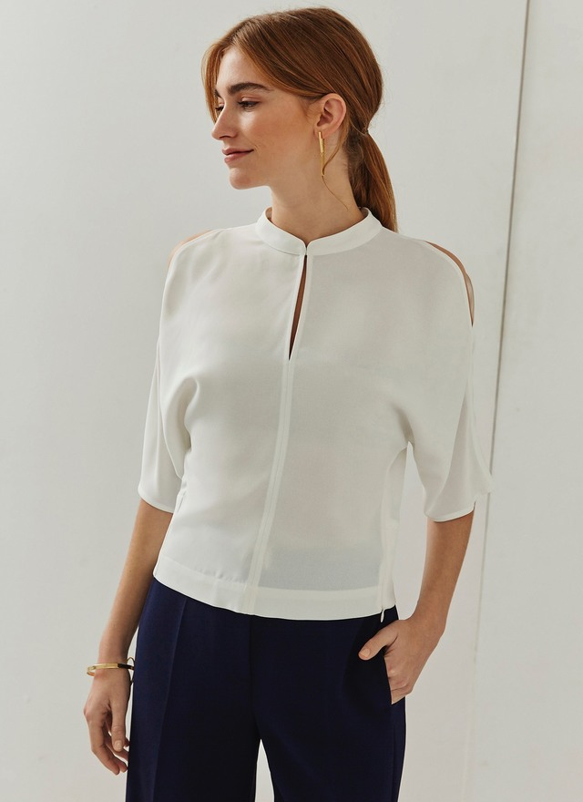 Adolfo Dominguez white short-sleeve cold shoulder top