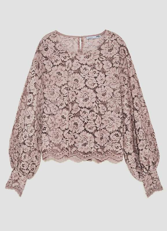 Zara Faded Pink Lace T-Shirt Blouse ASO Queen Letizia