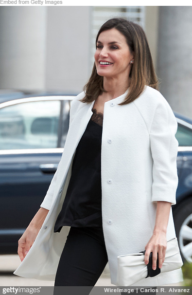 Queen Letizia wears black satin scallop lace trim camisole
