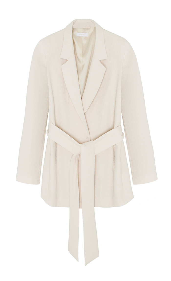 Intropia vanilla embossed blazer with tie