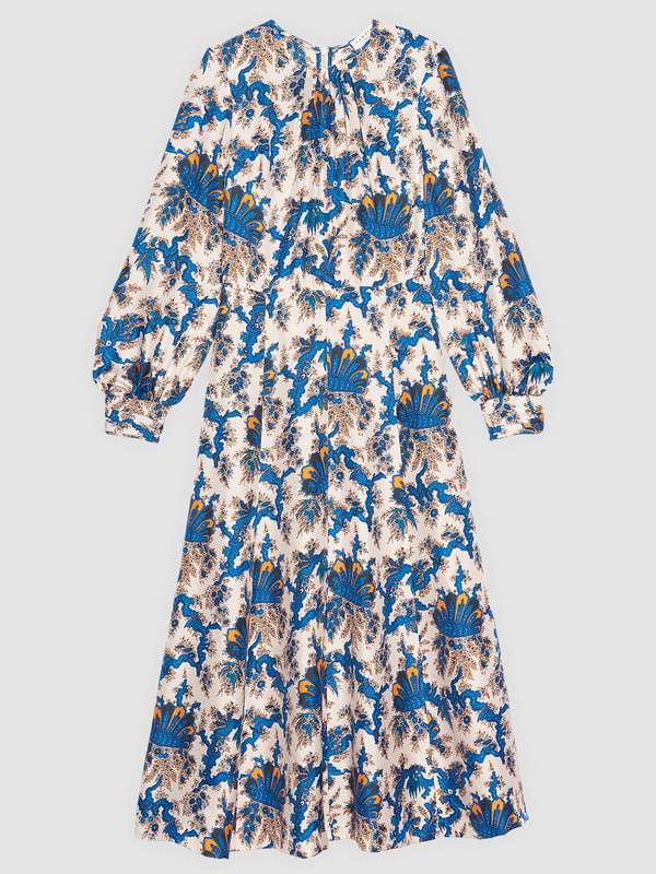 Sandro Paris All-Over Print Long Silk Dress