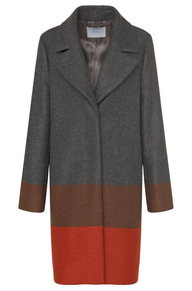 Hugo Boss 'Colorina' wool-blend striped colorblock coat