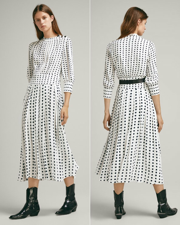Massimo Dutti two-tone print dress