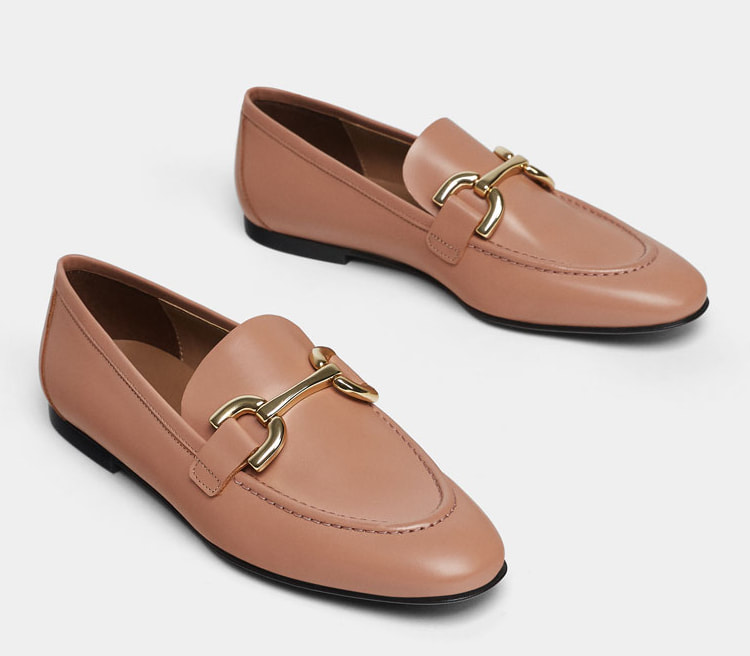Uterque pink leather horsebit loafers