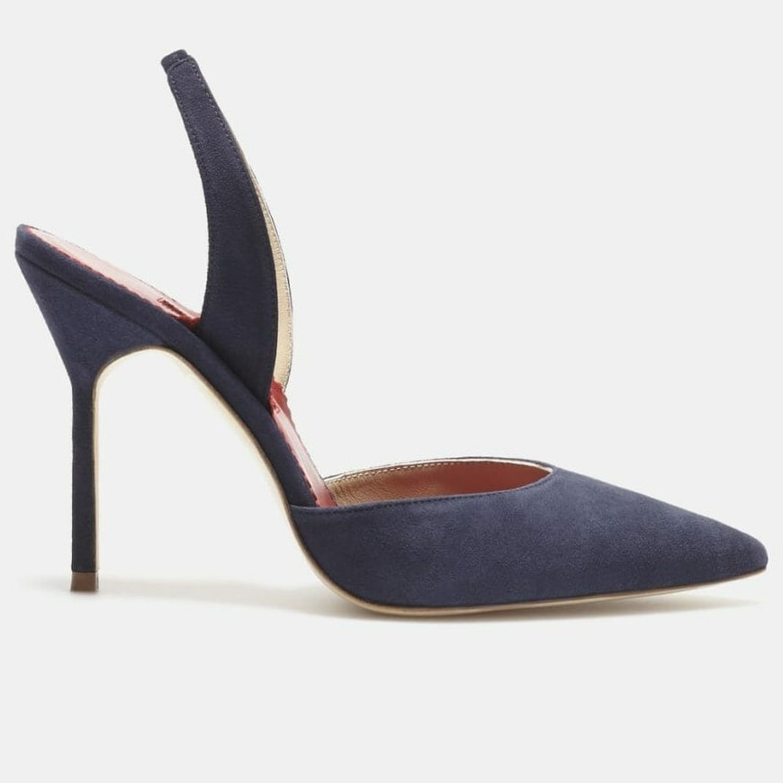 navy Carolina Herrera suede slingback pumps