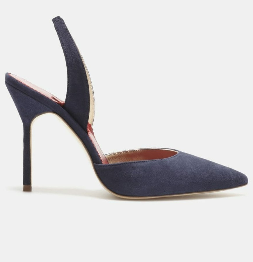 navy Carolina Herrera suede sling back pumps