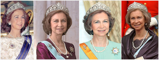 Queen Sofia and the Cartier Diamond and Pearl Tiara