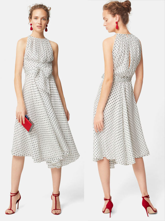 Carolina Herrera white and black polka dot silk gauze halter dress. Evening 2018 collection