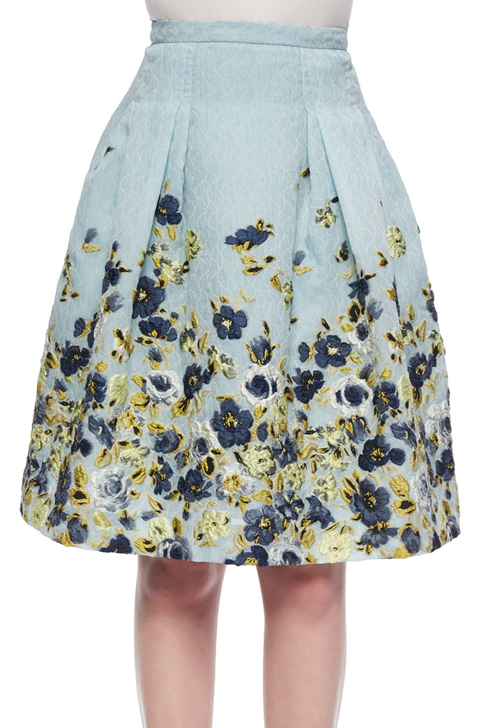 Carolina Herrera Flower Fil Coupe Party Skirt