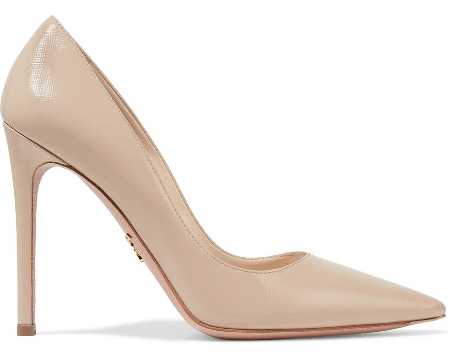 Prada beige glossed Saffiano leather pointy-toe pumps