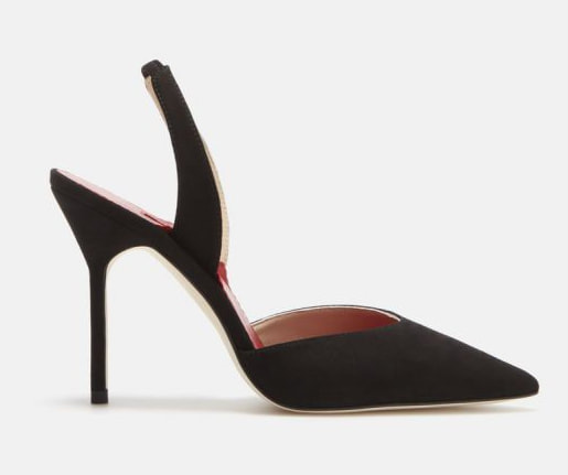 black Carolina Herrera suede slingback pumps