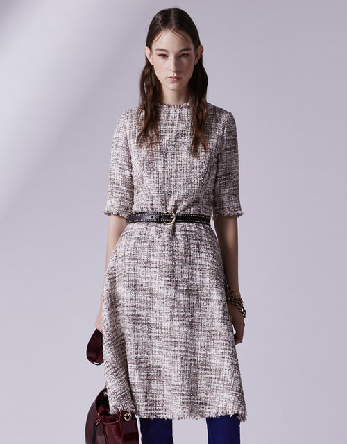 Adolfo Dominguez Tweed Dress with French Sleeves