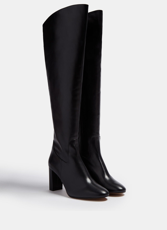 Adolfo Domínguez black over-the-knee high leather boots