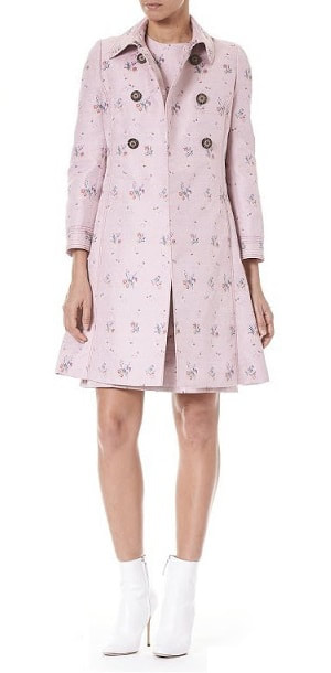 Carolina Herrera Pink Orchid Print Coat Pre-Fall 2018 collection