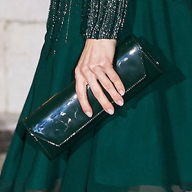Felipe Varela hunter green patent leather clutch