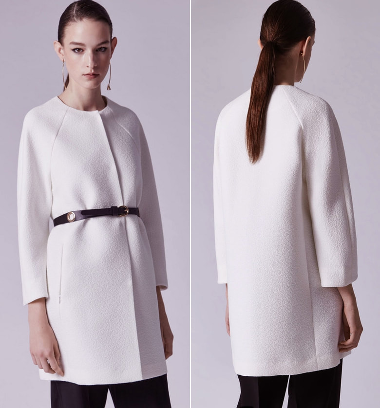 Adolfo Dominguez white straight-cut collarless coat