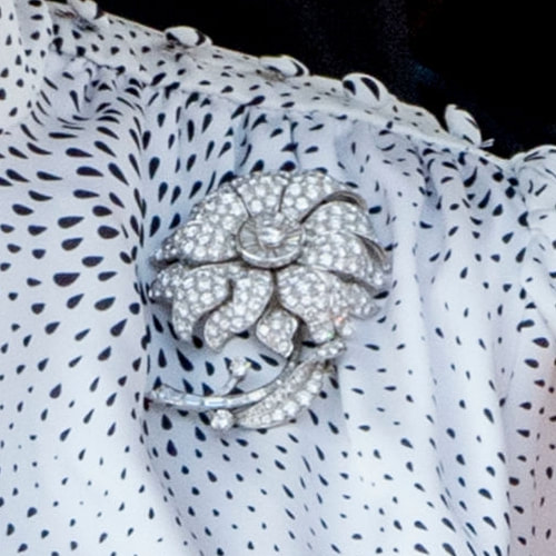 Queen Sofia diamond floral brooch