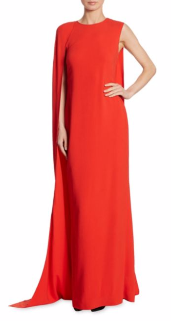 Stella McCartney Cecilia Cape Gown in Lipstick Red