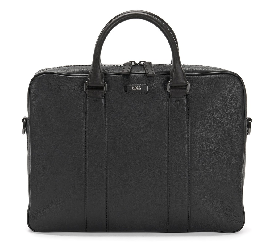 Hugo Boss Jackson_S doc leather bag with detachable strap