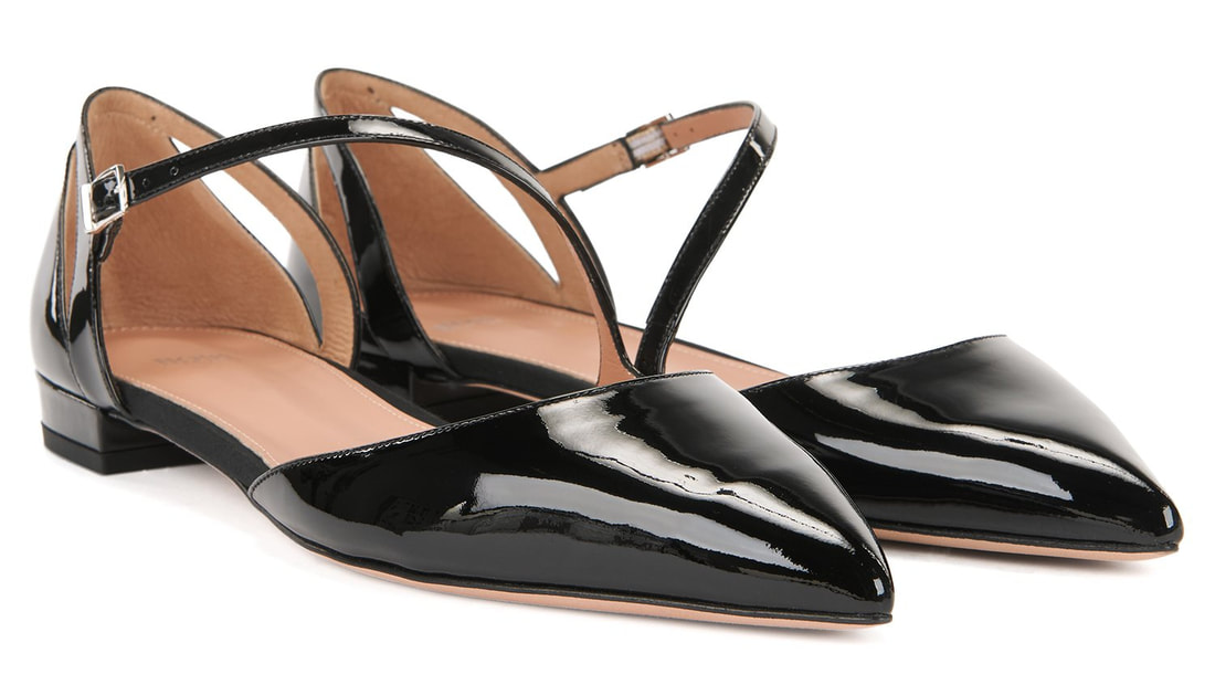 Hugo Boss BOSS Bella Ballerina pumps with with asymmetric strap