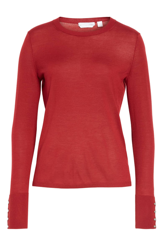 Hugo Boss Frankie dark red cuff detail wool sweater