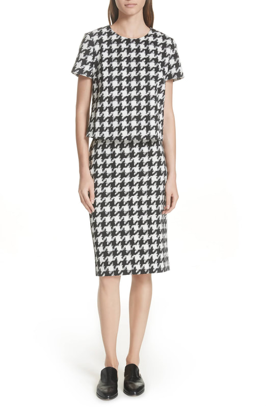 Hugo Boss Clady Houndstooth Top and Riami Houndstooth Pencil Skirt