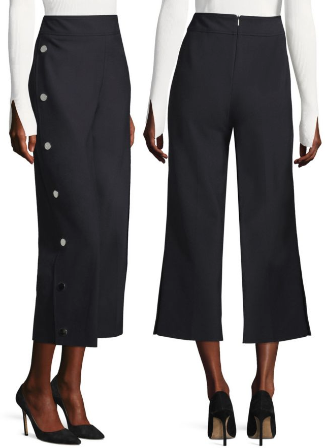 Hugo Boss 'Telareama' Snap Detail Wide-Leg Pants