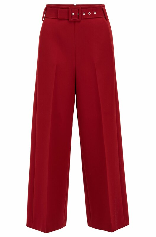 Hugo Boss Trima dark red cropped wide-leg trousers