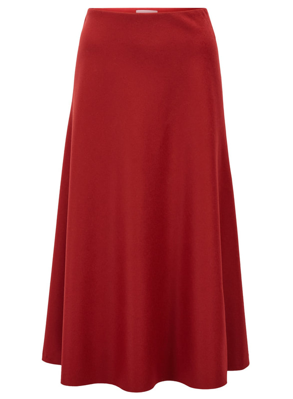 Hugo Boss Dark Red Vermana A-line midi skirt