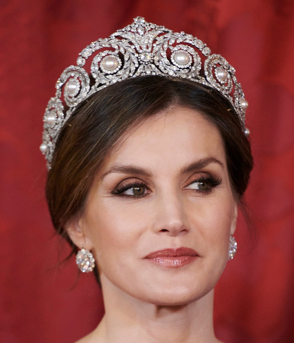Queen Letizia wears Cartier Pearl and Diamond Tiara