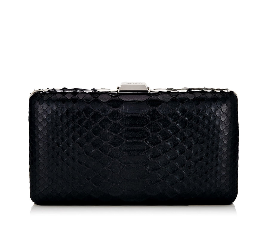 Jimmy Choo 'Clemmie' Shiny Black Python Clutch Bag