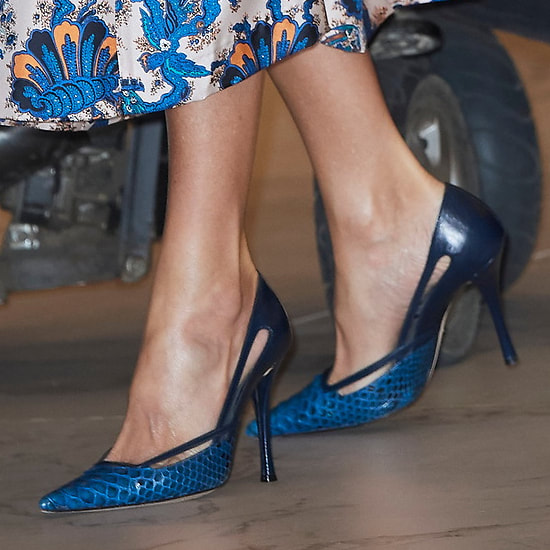 Magrit blue reptile leather pumps