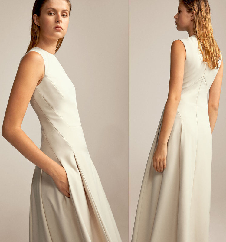 Pedro Del Hierro ivory flared skirt dress. Side and back