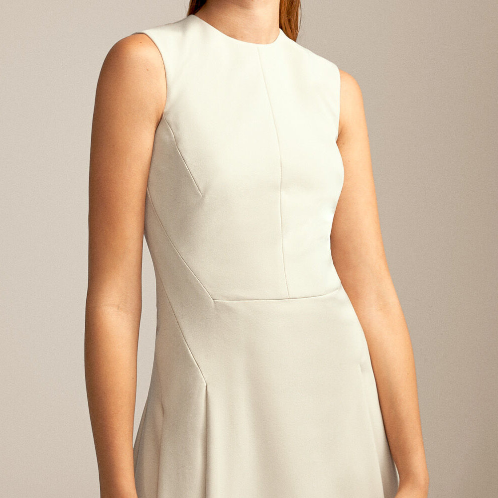 Pedro Del Hierro ivory flared skirt dress shaping seams