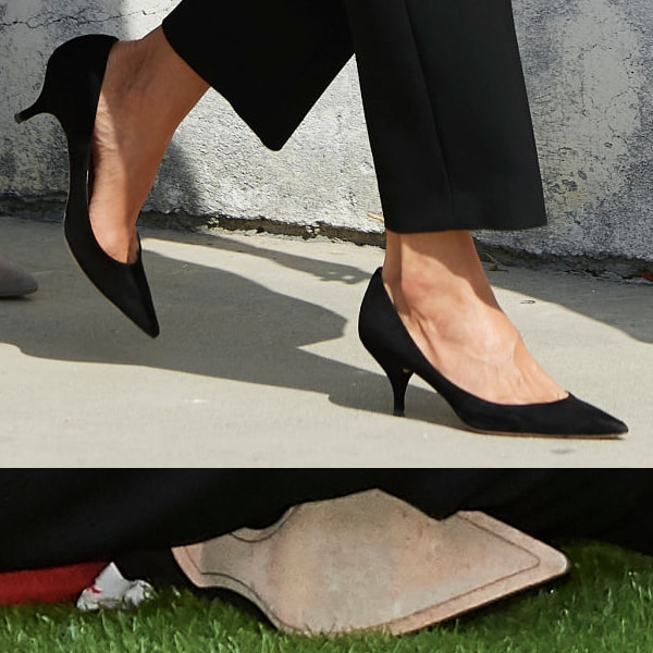 Queen Letizia wears Nina Ricci black suede kitten heel pump