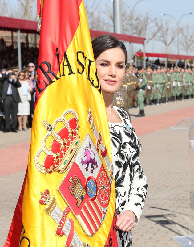 "Queen Letizia at the Base ""Príncipe"" in Madrid today to conduct a ceremonial flag presentation"