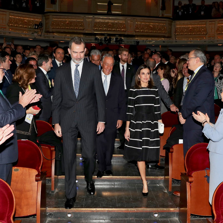 King Felipe and Queen Letizia attend the closing session of 2019 World Law Congress held at the Teatro Real in Madrid