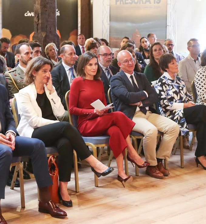 Queen Letizia of Spain attends the closure of Journalist's Seminar 'Como Los Medios De Comunicacion Pueden Ayudar A Repoblar La España Rural' on June 12, 2019 in Burgo de Osma, Spain