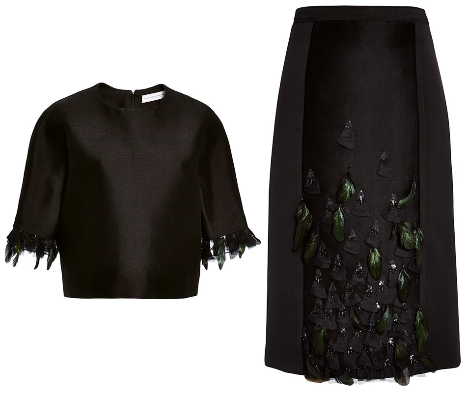 Carolina Herrera Feather Embroidered Silk Mikado Top and Skirt