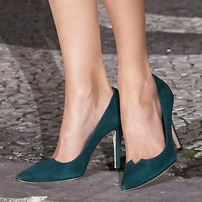 Magrit 'Leonor' hunter green suede pumps