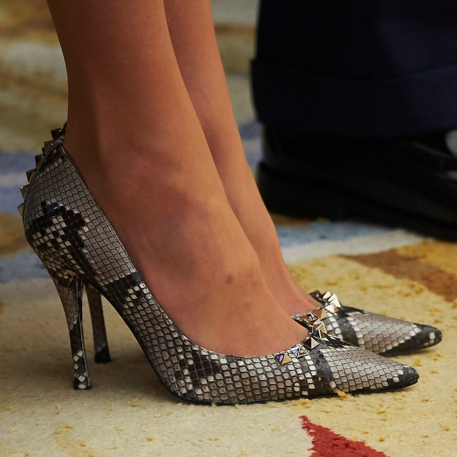 Magrit studded snakeskin pumps