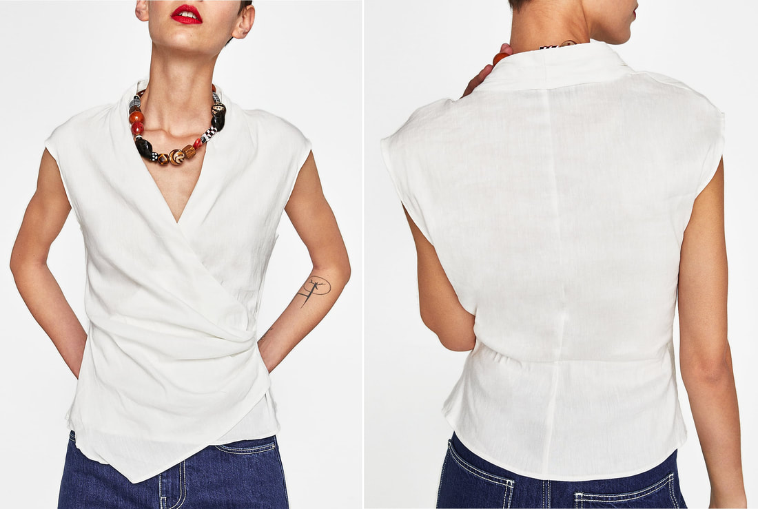 Zara draped linen top