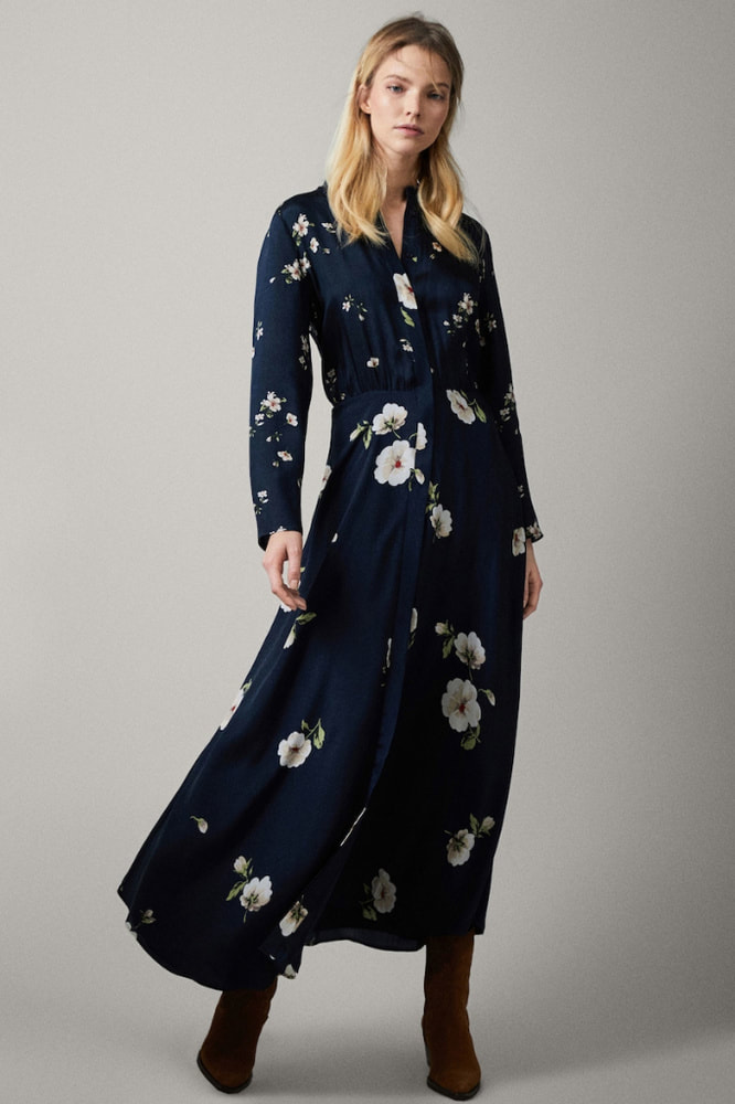 Massimo Dutti navy floral print dress
