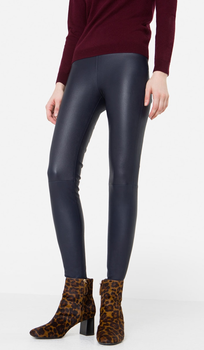 Uterque blue nappa leather leggings