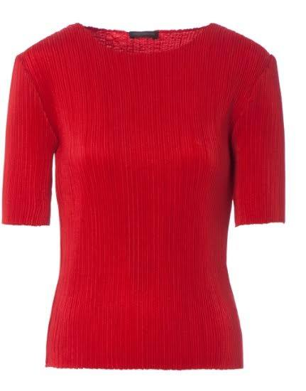 Adolfo Dominguez red ribbed 1/2 sleeve top