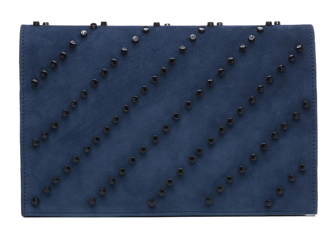 Magrit Cloe blue suede studded clutch