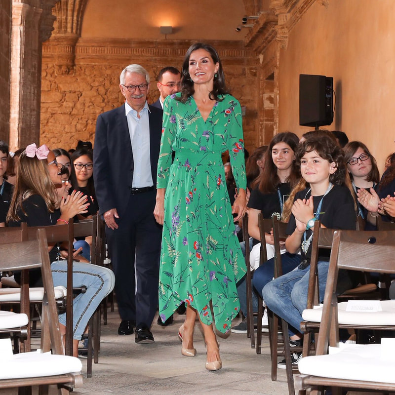 Queen Letizia debuts Maje Rayema green long floral print dress on 25 July 2019.