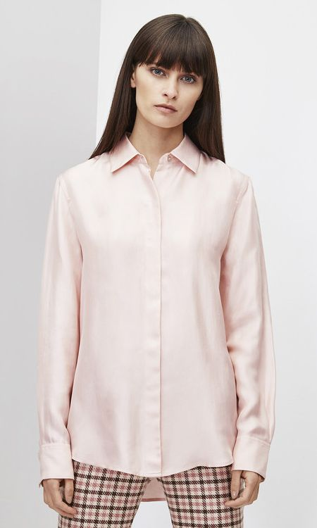 Adolfo Dominguez long-sleeve pink silk blouse